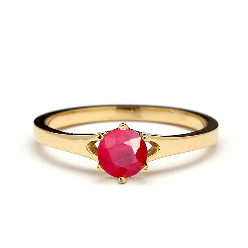 Solitaire Ruby Engagement Ring in Yellow Gold