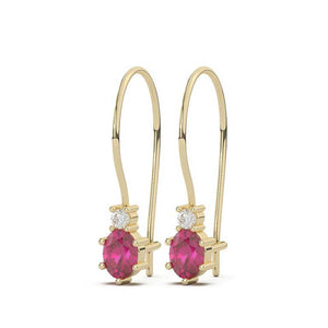 Ruby & Diamond Dangling Earrings