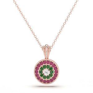 Ruby Emerald and Diamond Necklace