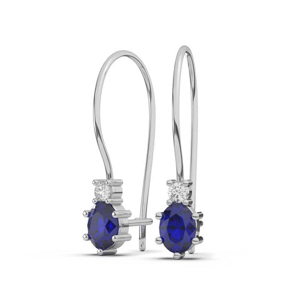 Sapphire & Diamond Dangling Earrings