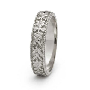 White Fleur Wedding Ring