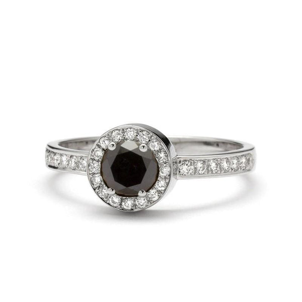 Black Diamond Engagement Ring white gold