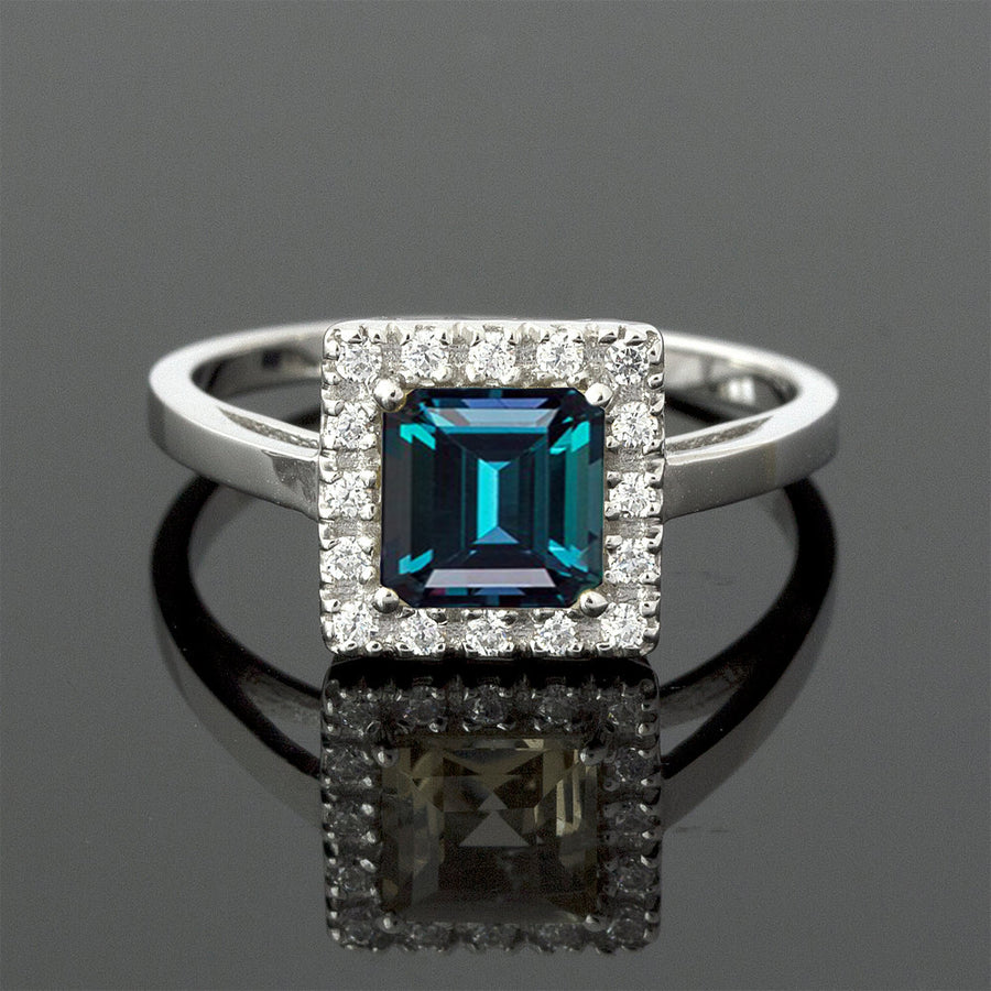 square alexandrite engagement ring