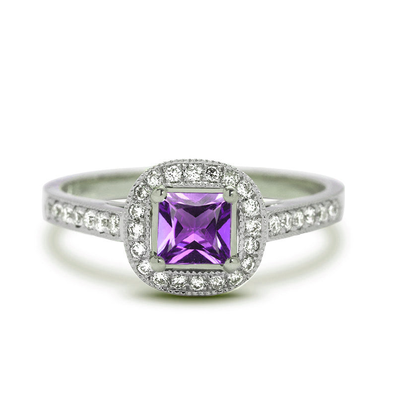 Princess Cut Amethyst Engagement Ring Juliet Oliver
