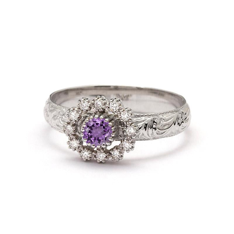 white and diamonds grande dahlia diamond shape amethyst purple side engagement in carats gold with cut featuring stone hand engraved shaped amethysts marquise amathyst r rings round details kirk kara products ring