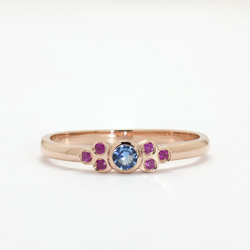 14k Rose Gold The Luigina Ring Blue Topaz and Rubies