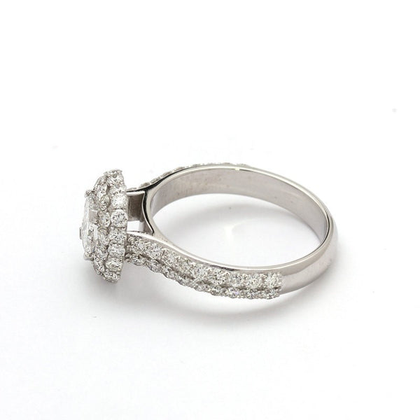 double halo diamond ring white gold