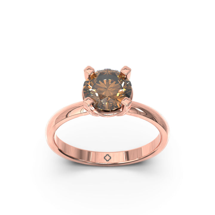 champagne diamond rose gold ring