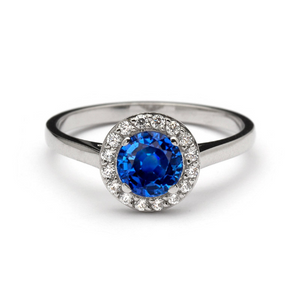 blue sapphire halo engagement rings