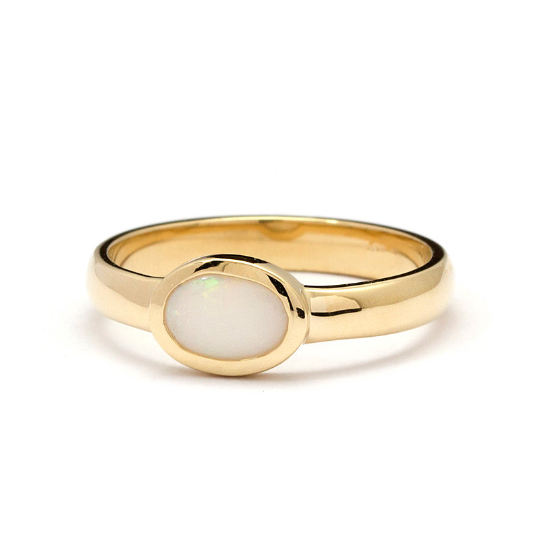 14k Yellow Gold The Bianca Ring White Opal