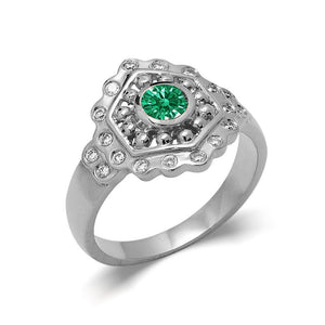 Vintage Style Emerald Engagement Ring white gold