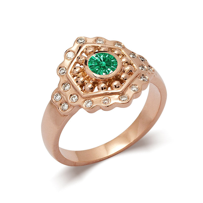Vintage Style Emerald Engagement Ring Rose Gold