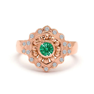 Vintage Style Emerald Engagement Ring Rose Gold 2