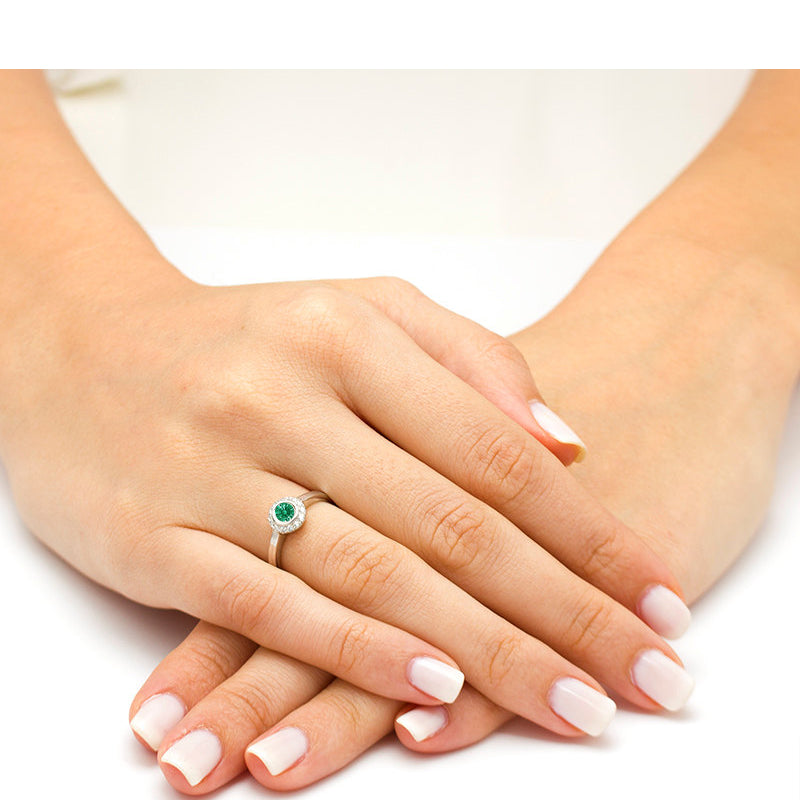 natural emerald engagement ring with diamond halo 2