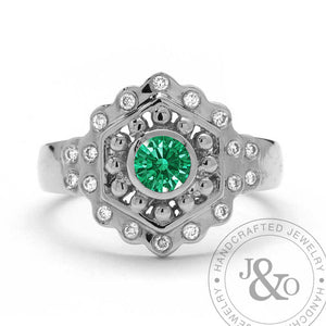 vintage style emerald engagement ring