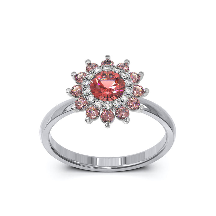 Garnet and Diamond Engagement Ring