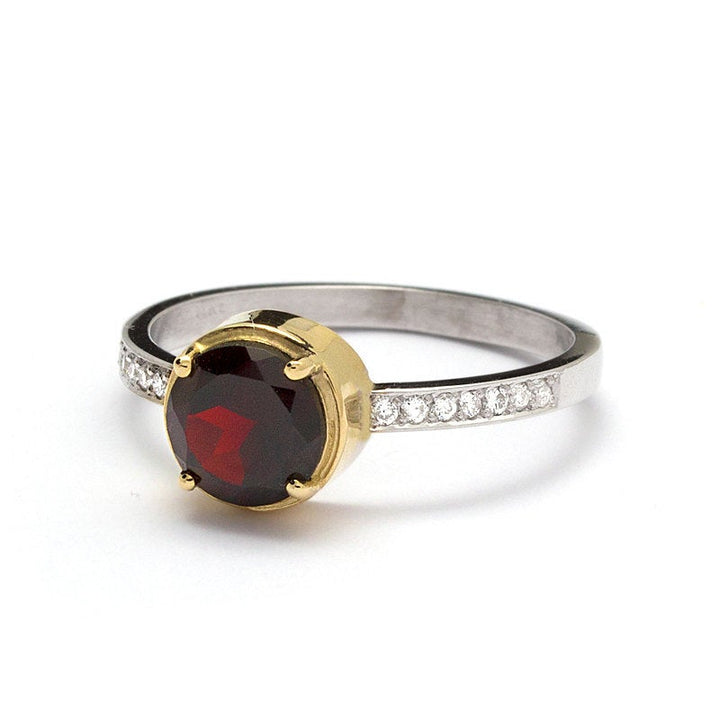 garnet engagement ring white gold