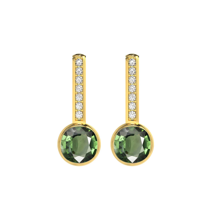 Drop earrings Green Tourmaline With Diamonds