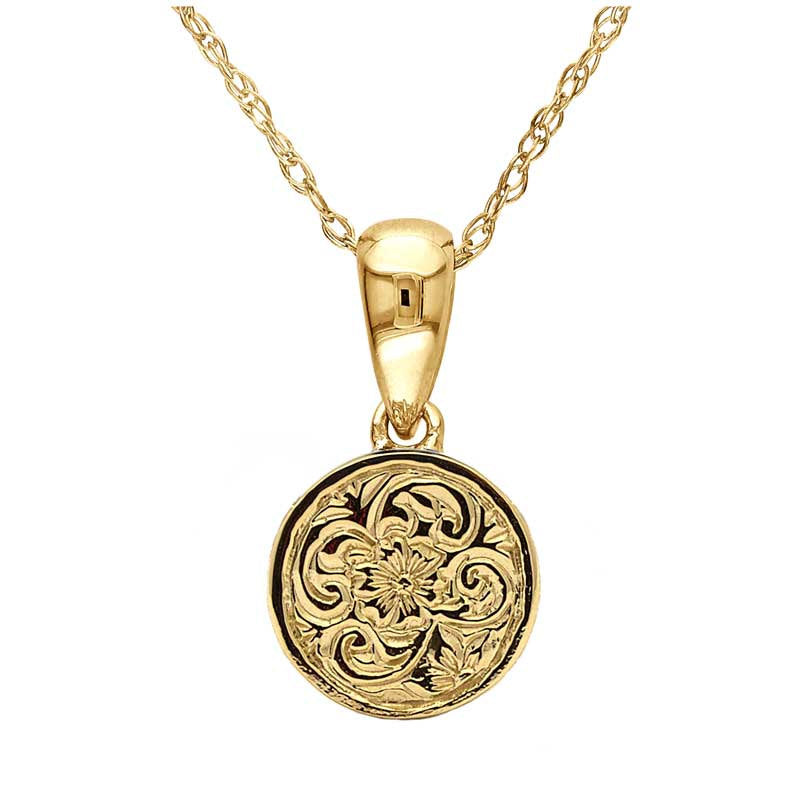 Vintage Floral Engraved Pendant Necklace in 14k Yellow Gold