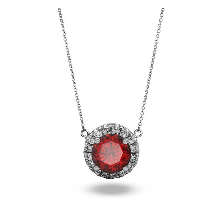 Halo Garnet Necklace Diamond Pendant Necklace in 18k White Gold