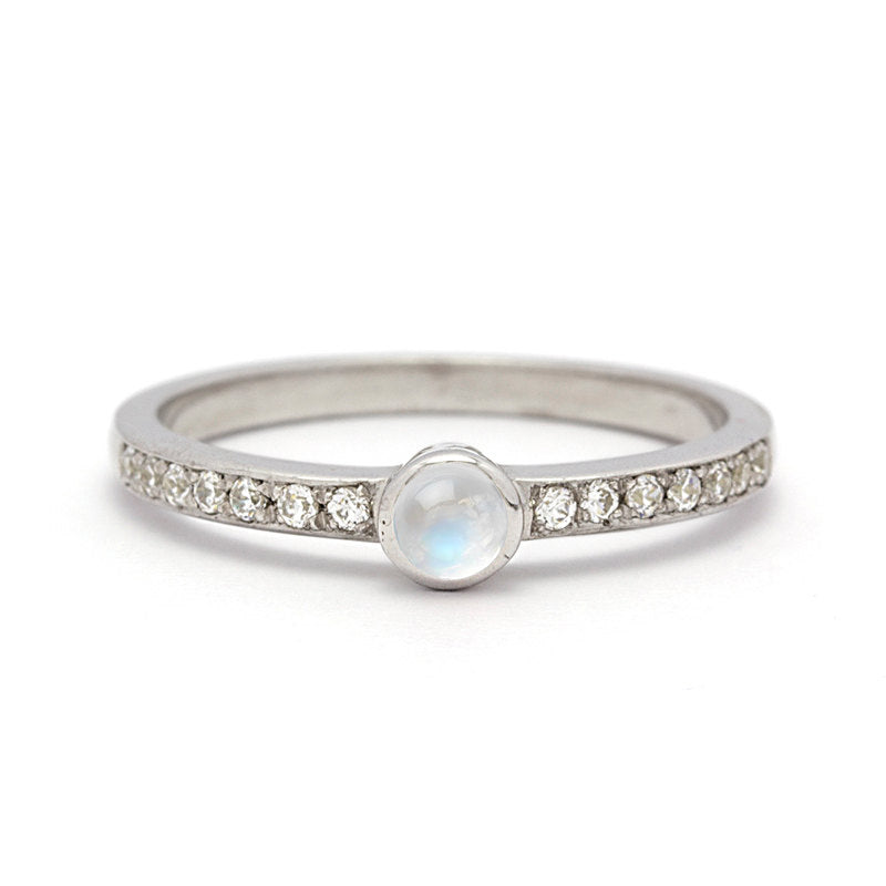 petite moonstone engagement ring