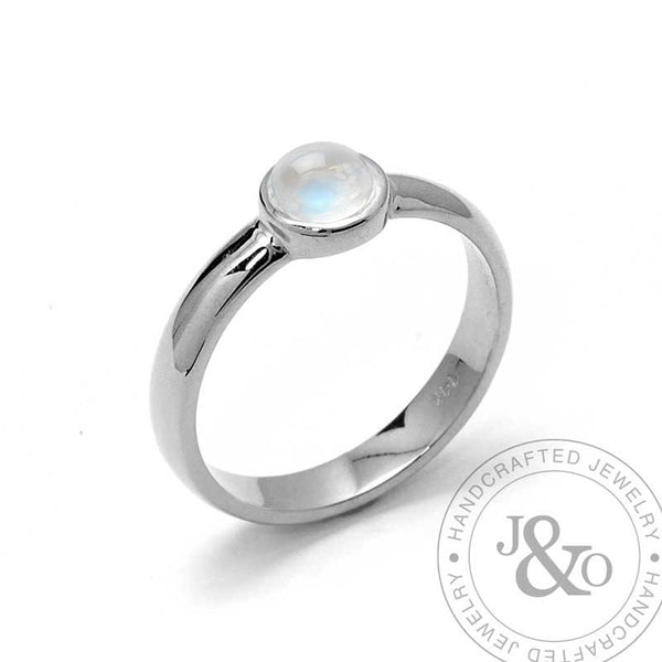 Moonstone Engagement Ring 14k  White Gold