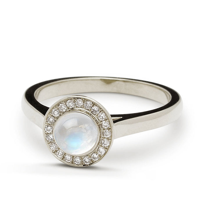 Platinum Moonstone Engagement Ring