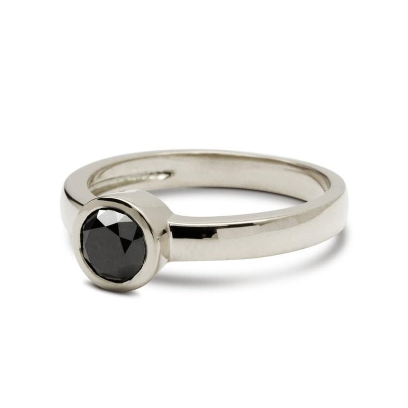 Solitaire Onyx Engagement Ring