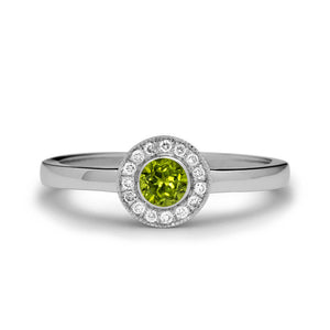 peridot engagement ring diamond halo