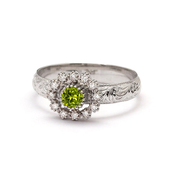 peridot engagement ring white gold