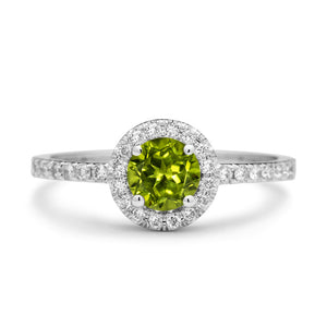 Peridot Engagement Ring with Diamonds