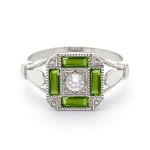 antique peridot engagement ring