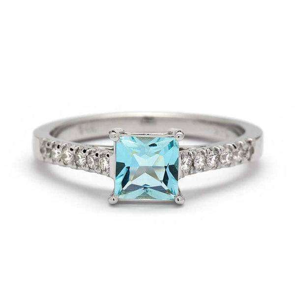 PRINCESS AQUAMARINE ENGAGEMENT RING