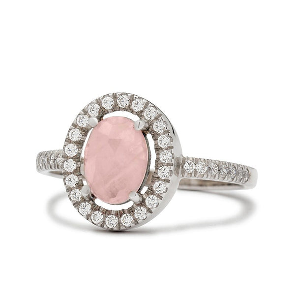 rose quartz engagement ring