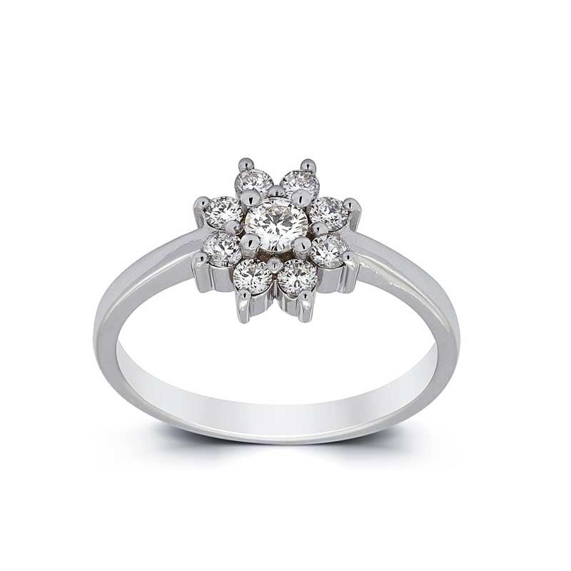 flower halo engagement ring white gold