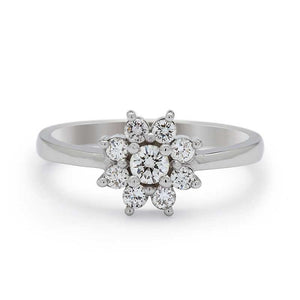 flower halo engagement ring diamonds