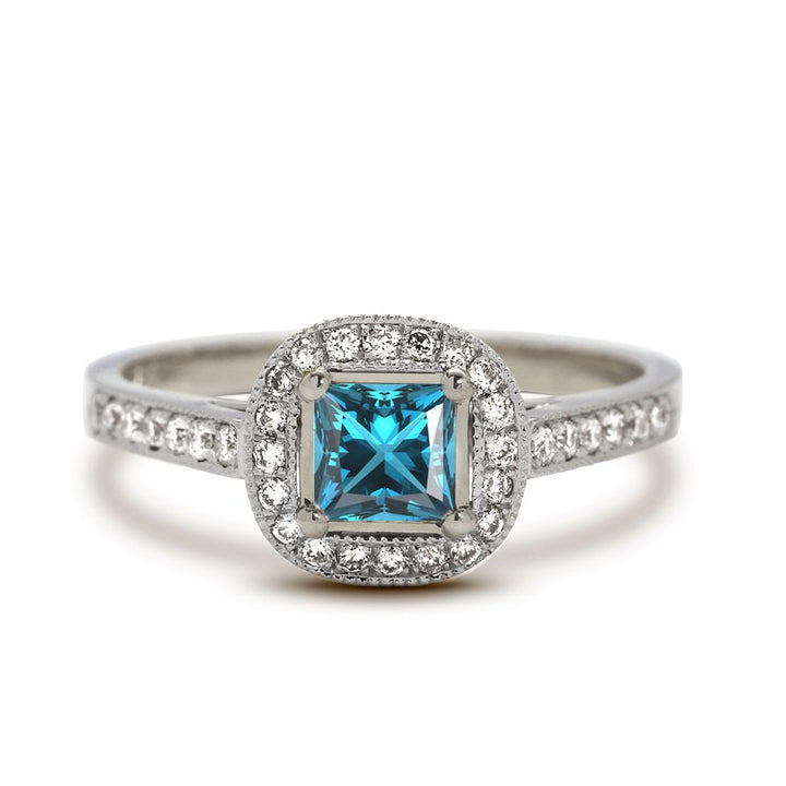Sienna Princess Aquamarine Engagement Ring