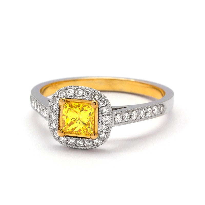 fancy yellow diamond engagement ring halo