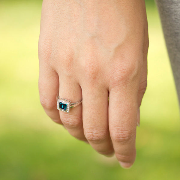 princess cut alexandrite engagement ring with diamonds