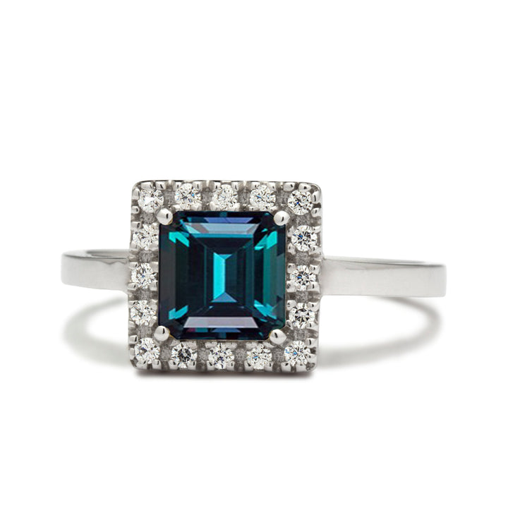 princess cut alexandrite engagement ring