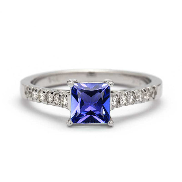 princess cut tanzanite engagement ring