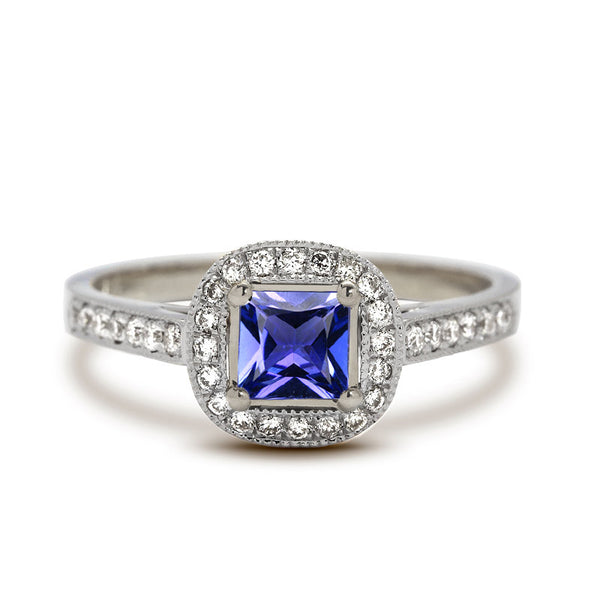 tanzanite engagement ring princess cut
