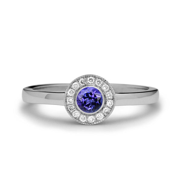 tanzanite engagement ring diamond halo