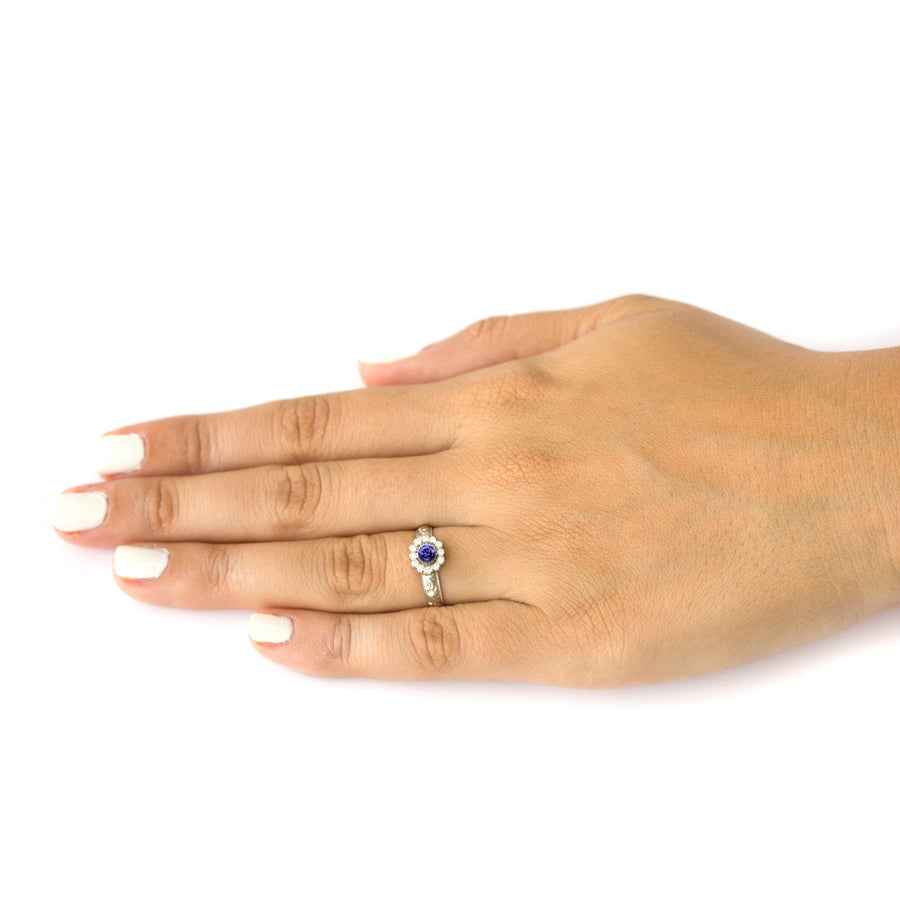 diamond and tanzanite engagement ring