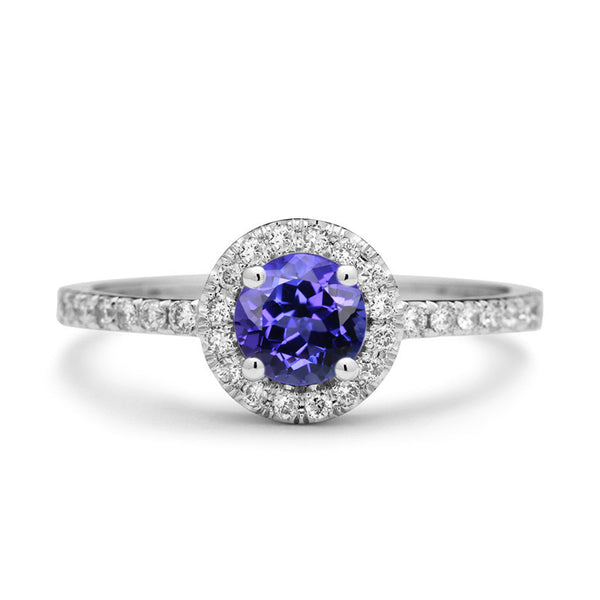 tanzanite engagement ring with diamonds