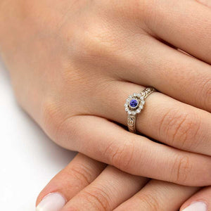 diamond halo tanzanite engagement ring
