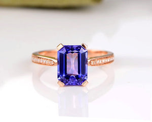 tanzanite engagement ring rose gold 14k