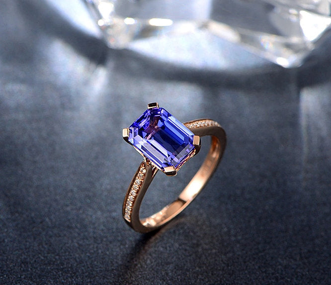 rose gold tanzanite engagement ring 14k