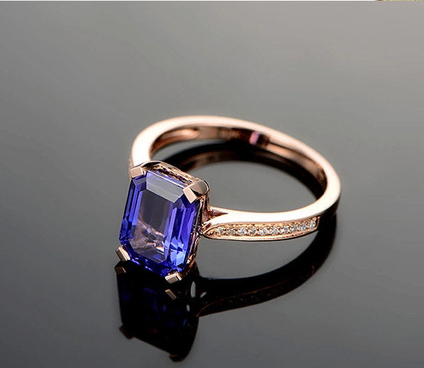14k rose gold tanzanite engagement ring