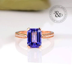 rose gold tanzanite engagement ring